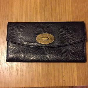 Kimchi Blue black faux snakeskin trifold wallet